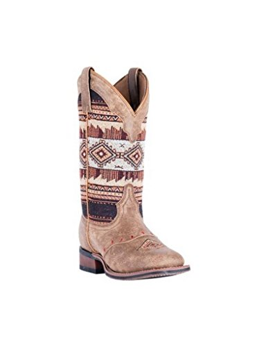 Laredo Womens Tan/Brown Cowboy Boots Leather Cowboy Boots Square Toe 9 M by Laredo (Image #1)