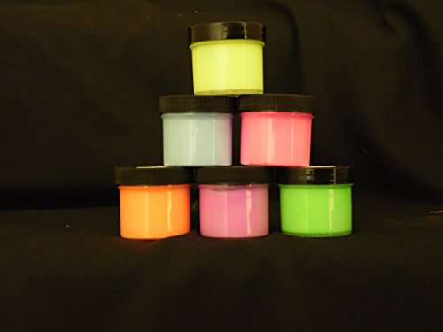 6 Color Daytime Visible Glow in the Dark Paint HALF OZ pots,