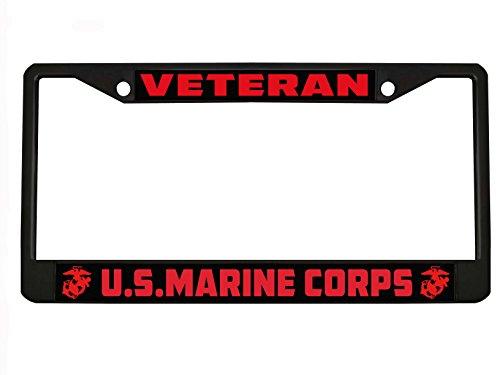 New Custom Auto Tag US Marine Corps Marines Veteran Military License Plate Frame Holder Chrome/Black (2BLACK/RED)