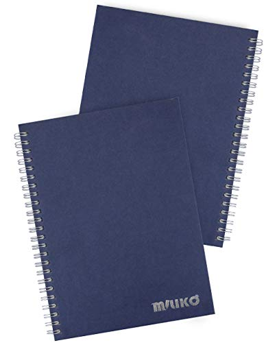 (Miliko A5 Size Kraft Paper Hardcover Square Grid Wirebound/Spiral Notebook/Journal-2 Notebooks Per Pack-70 Sheets (140 Pages)-8.27 Inches x 5.67 Inches(Silver Binding Rings, Blue Square Grid))