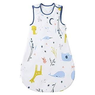 Mosebears Sleep Sack Baby Wearable Blanket with 2-Way Zipper,2.5 TOG Cotton Sleep Sack Unisex (White, 0-6 Months)