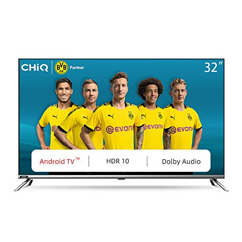 CHiQ L32H7 LED Smart TV, HD, 32 Inch, Android 9.0, HDR10, A+ Screen, WiFi, Bluetooth 5.0, Netflix, YouTube, Prime Video, Full screen display, HDMI, USB