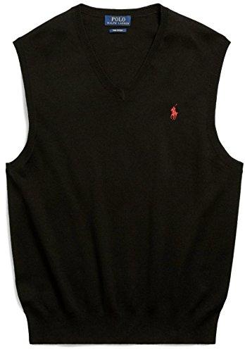 Polo Ralph Lauren Men's Pima Cotton Sweater Vest, XXL, Polo Black (Ralph Lauren Embroidered Vest)
