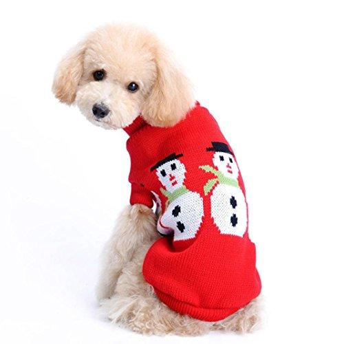 AIMTOPPY Fashion Christmas Snowman Pet Clothes for Dog Cat Puppy Hoodies Coat Winter Sweatshirt Warm Sweater (L)