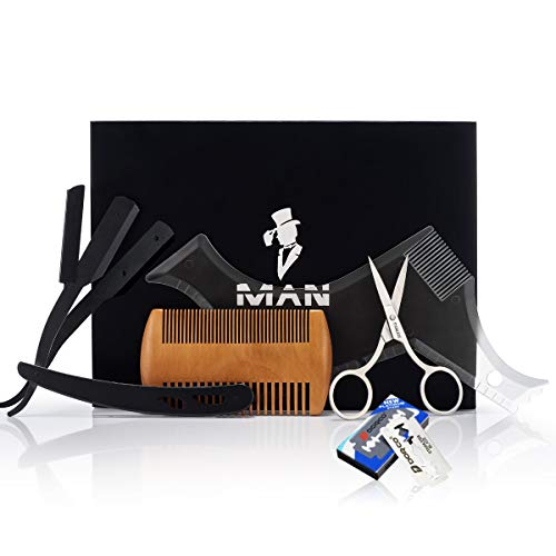 Premium Beard Grooming Kit for Men,Includes professional straight edge razor transparent beard styling template, Anti-static beard comb, 10 Count of double edge blade & Stainless steel scissors (Best Razor For Beard Shaping)