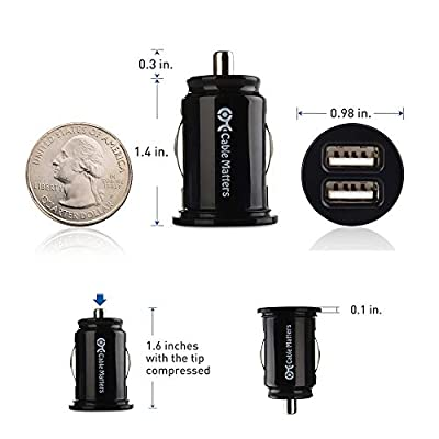 Cable Matters Updated Version 2-Pack 10W 2A Flush Mount Mini Dual USB Car Charger with Smart Charging Chipset for iPhone XR XS, Samsung Galaxy S10, Note 9, LG G7, V40, Google Pixel 3, and More