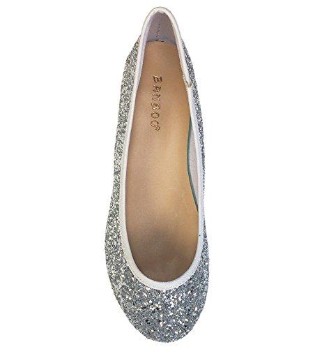 Women's Round Toe Silver Bamboo Glitter Ballet Flats 4qTxTCw