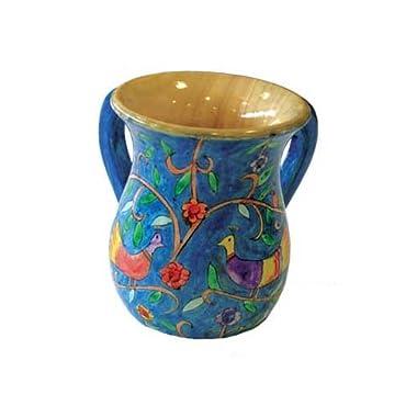 Bird Designed Hand Painted Medium Wooden Netilat Yadayim Wash Cup by Yair Emanuel