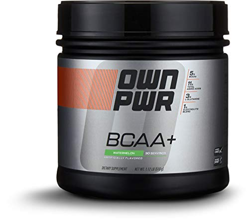 Amazon Brand - OWN PWR BCAA+ Powder, Watermelon, 30 Servings, Micronized Branched Chain Amino Acids with Glutamine, Electrolytes & More by OWN PWR