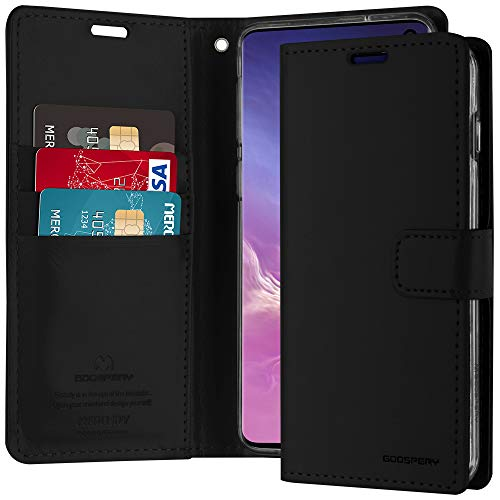Galaxy S10 Case [Drop Protection] Goospery Blue Moon Diary [Slim Fit] Wallet Case [Card Slots] Stand Flip Cover [Magnetic Closure] for Samsung Galaxy S10 (Black) S10-BLM-BLK (Moon Blue Clasps)