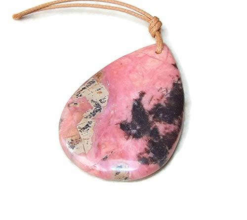 Pink Rhodonite Pendant - Rhodochrosite Pendant - Polished Stone - Gemstone Pendant - Tear Drop - Pendant Drilled - Boho - 50mm - 60mm