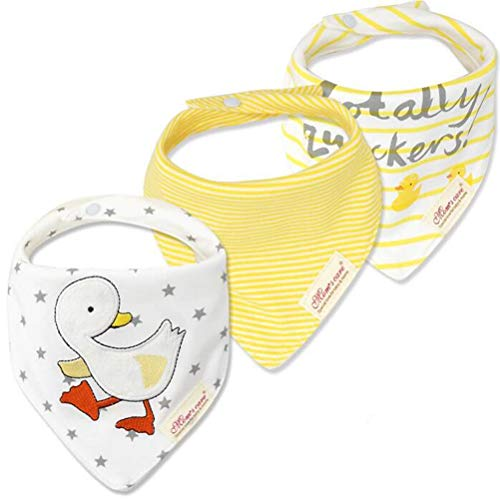 (CuteOn Baby Drool Bibs | 3-Pack Super Absorbent Cotton | Unisex Baby Gift - 24Stars&Ducks)