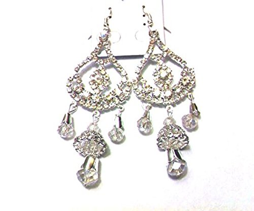 (Wedding 18k White Gold Plated Multi-Level Drop Earrings Women Special Design Made with Ziconia Crystal)