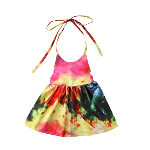 Toddler Girl Baby Kids Colorful Summer Halter Fashion Backless Dress Sundress (Multicoloured, 1T)