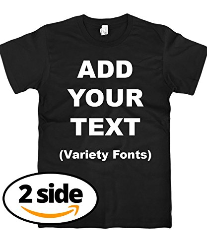 Custom T Shirts Front & Back Add Your Text Ultra Soft for Men & Women Cotton T Shirt [Black/S] by Circular