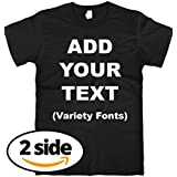 Custom T Shirts Front & Back Add Your Text Ultra Soft for Men & Women Cotton T Shirt [Black/S]