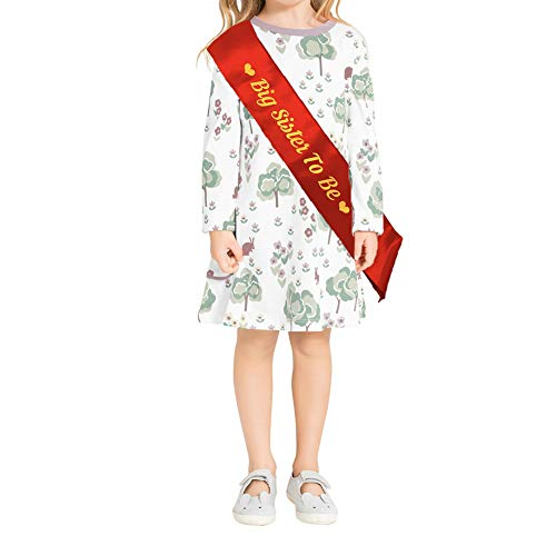 Blingbling Big Sister to be Sash, Red Satin with Gold Font with Heart, Best Baby Shower Decorations Gifts, Baby Boy Or Girl Neutral (Children's Style) ()