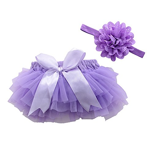muyan Girls Cotton Tulle Ruffle with Bow Baby Bloomer Diaper Cover and Headband Set (Purple, ()