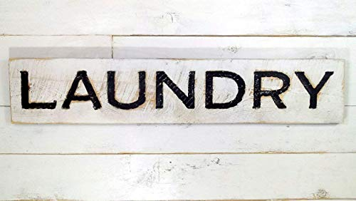 Laundry Sign - Carved in a Solid Wood Board Rustic Distressed Shop Advertisement Farmhouse Style Room Wood Rustic…
