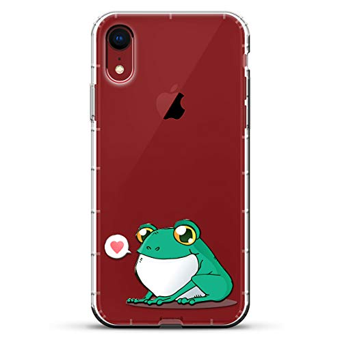 Cute Frog | Luxendary Air Series Clear Silicone Case with 3D printed design and Air-Pocket Cushion Bumper for iPhone XR (new 2018/2019 model with 6.1