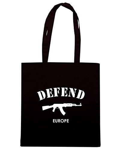 T-Shirtshock - Bolsa para la compra T0989B defend europe militari Negro