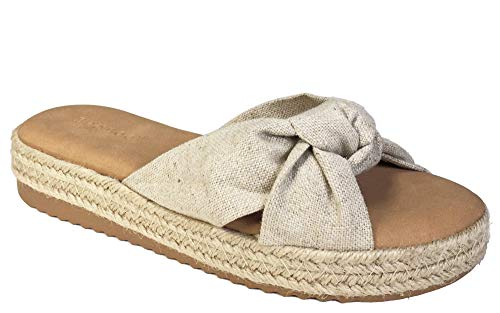 BAMBOO Women's Knotted Cross Band Espadrilles Platform Slide Sandal, Natural Fabric, 7.5 B (M) US ()