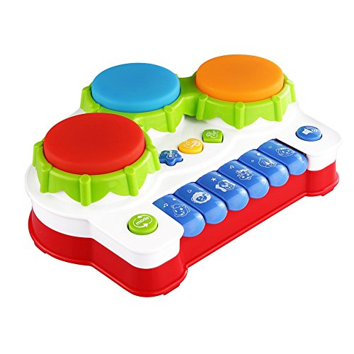 Love&Mini Birthday Gift Piano Music Keyboard Hand Drum Toy with Flash Lights for Kids Early Learning