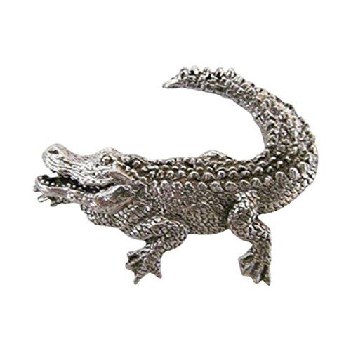 Creative Pewter Designs, Pewter Alligator Premium Lapel Pin Brooch, Antiqued Finish, A070PR