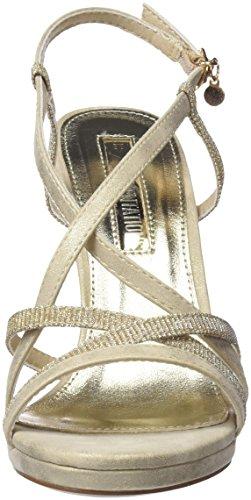 XTI Damen 30695 Knöchelriemchen Sandalen Gold