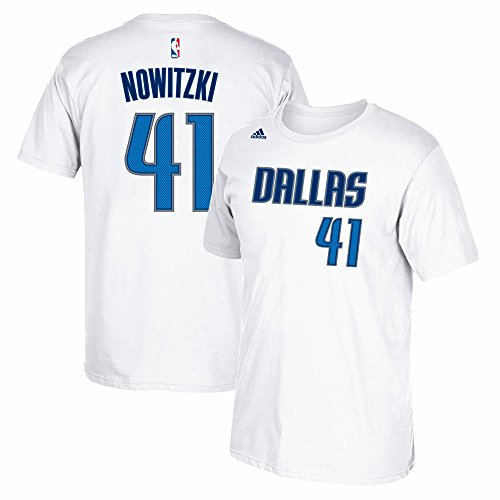 Dirk Nowitzki Dallas Mavericks NBA Adidas White Name & Number Player Jersey Team Color T-Shirt For Men – DiZiSports Store