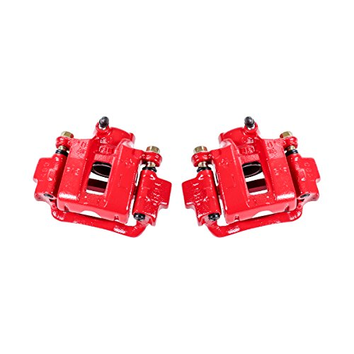 Callahan CCK03665 REAR Premium Red Coated Caliper Pair + Hardware Kit [Left & Right]