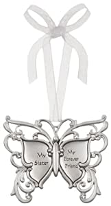 My Sister My Friend Forever Butterfly Silver & Crystal Filigree Ornament