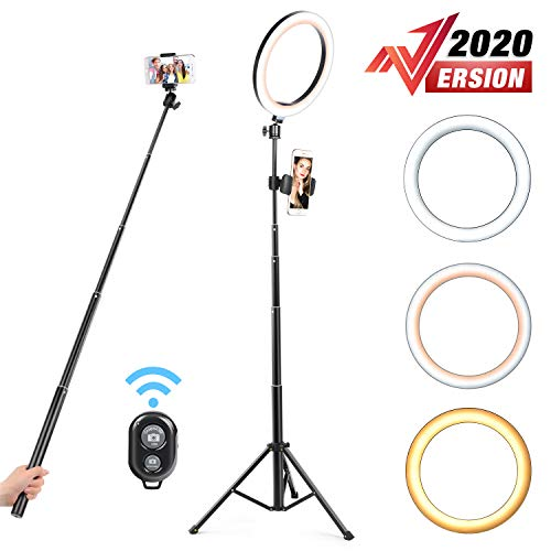Yesker 10.2 Selfie Ring Light Dimmable with Tripod Stand Cell Phone Holder Mini Led Camera Ringlight for Live Streaming Makeup YouTube Video Photography Compatible iPhone Android Remote Control