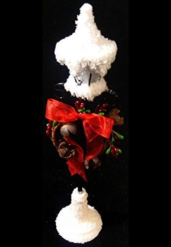 Penn Snowfall Valley LED Lighted Lamppost with Red Bow Christmas Decoration, 12