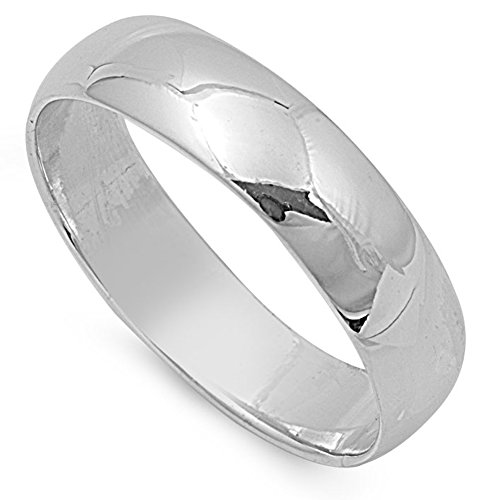 8mm Band Sterling Silver Ring - 6