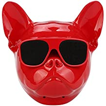 Bulldog Shape Designed Bluetooth Speakers, Lotus.flower Surround Sound Stereo Soundbox Personalized Wireless Speaker Hi-Fi Music Player With HD Audio and Enhanced Bass Support TF/USB Input (Red)