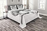 Lunarable Skull Bedspread Set Queen Size, Scary Goat Animal Skull Illustration in Dark Colors Dead Horns Wild Nature, Decorative Quilted 3 Piece Coverlet Set with 2 Pillow Shams, Pale Sage Green White