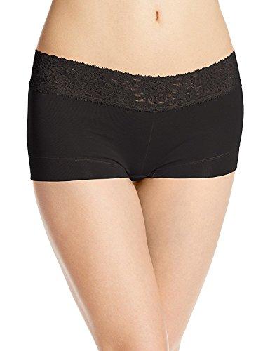 Boyleg Brief Panty - Ladies & Men's story Women's No Show Microfibre Lace Dream Boyshort Panties Boyleg Briefs Underwear(Black, S)