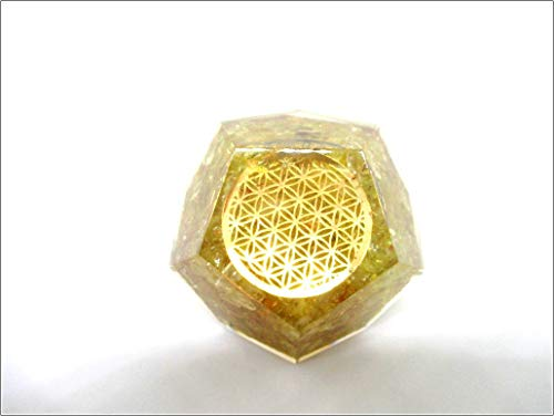 Jet Citrine Orgone Flower of Life Dodecahedron 2 inch Gemstones Copper Metal Mix Rare Healing Positive Energy EMF Protection Radiation Absorbed Waves Reduction Crystal Therapy Booklet (Rare Life)