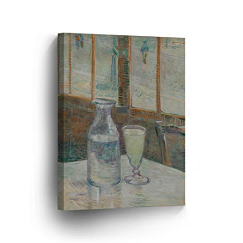(Vincent Van Gogh Still Life with Glass of Absinthe and a Carafe, 1887 Canvas Print Decorative Art Wall Décor Artwork Wrapped Wood Stretcher Bars-Ready to Hang -%100 Handmade in The USA - 12x8)