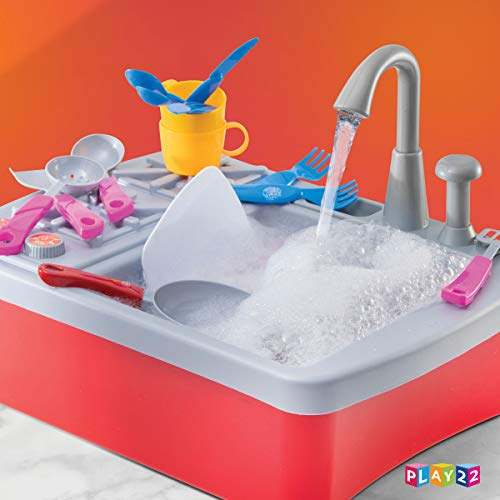 41Pbj%2B9xckL - Play22 Kitchen Sink Toy 17 Set - Play Sink Play House Pretend Toy Kitchen Sink with Running Water - Kids Toy Sink with Real Faucet & Drain, Dishes, Utensils & Stove - Kitchen Toys for Toddlers & Kids
