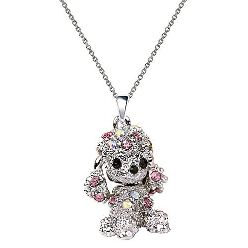 NC068 Cute 3D Pink Crystal Poodle Puppy Pet Charm Pendant Necklace
