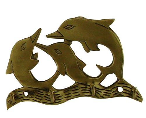Appendi strofinacci, chiavi, Asciugamano a forma di delfino, in ottone invecchiato
