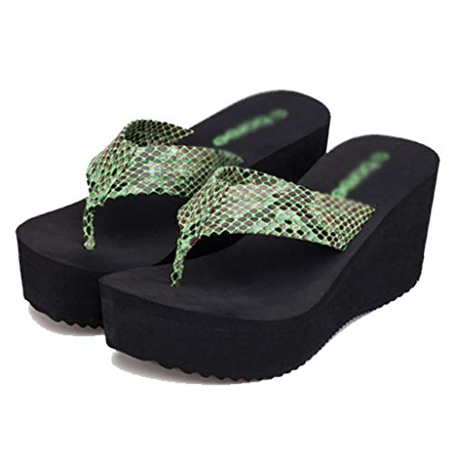 's 36EU Talons Green Women Sponge des Bottom avec Sandals Green Taille Slipper Talons Muffin and à AMINSHAP Beach compensés Couleur compensés Slippers Chaussons x1wB6qYx