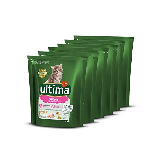 ultima Pienso para Gatos Junior de 2 a 12 Meses con Pollo, Pack de 6 x 400 gr – Total 2.4 kg