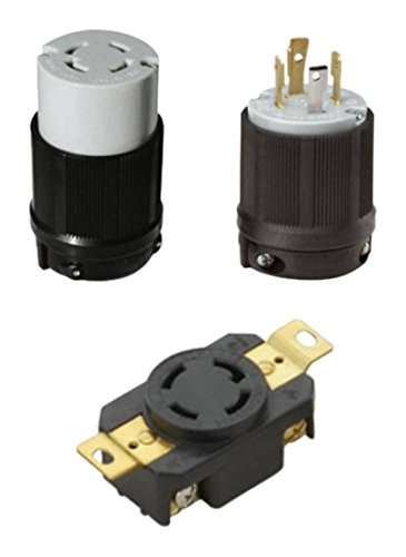 OCSParts L14-30PCR NEMA L14-30 Plug, Connector and Receptacle Set - Rated for 30 Amp, 125/250V, 4-Wire, 3 Pole - CUL Listed (Pack of 3)
