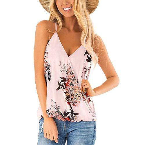 TOTOD Women's V-Neck Loose Flower Printed T-Shirt Casual Strapless Off Shoulder Ruffled Bandage Tops(Z05-Beige,L)