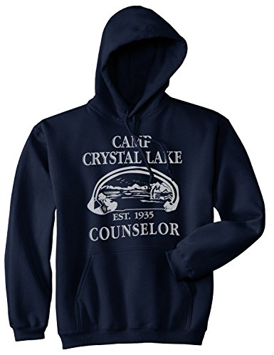 Camp Crystal Lake Sweater Funny Shirts Camping Vintage Horror Novelty Hoodie (Navy) - -