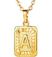 U7 Monogram Necklace A-Z 26 Letters Pendants 18K Gold/Platinum Plated Square Capital Initial Neck...