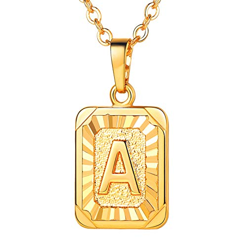 (U7 Monogram Necklace Gift for Women 18K Gold Plated Square Script Initial Jewelry Letter Pendant (Letter A))